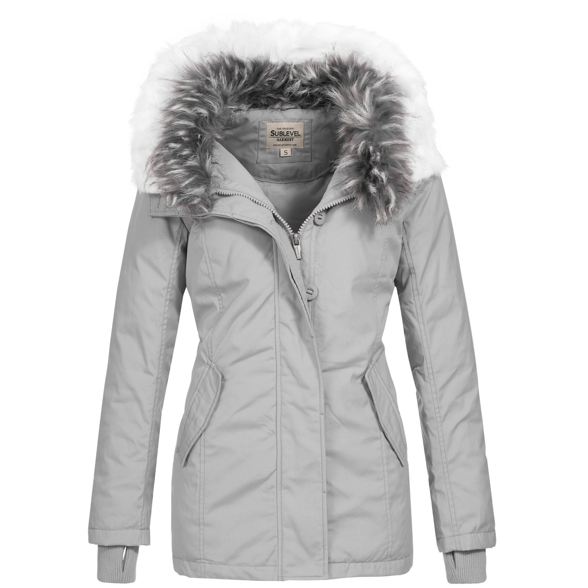 best service fd4a2 ef052 Sublevel Damen Winter Mantel Wintermantel Jacke Luxus Kunstpelz warm 44406  S-XL 3-Farben
