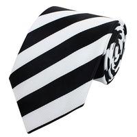 Schlips Krawatte Krawatten Binder 8cm weiß schwarz gestreift Fabio Farini