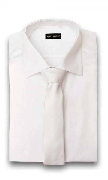 Schlips Krawatte Krawatten Binder 6cm weiß uni Fabio Farini