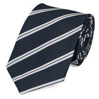 Schlips Krawatte Krawatten Binder 8cm dunkelblau silber gestreift Fabio Farini