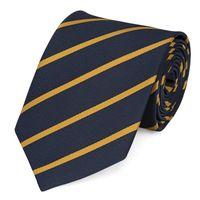 Schlips Krawatte Krawatten Binder 8cm dunkelblau goldgelb gestreift Fabio Farini