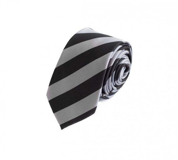 Schlips Krawatte Krawatten Binder 6cm schwarz hellgrau gestreift Fabio Farini