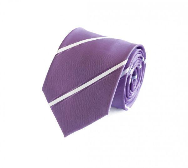 Schlips Krawatte Krawatten Binder 8cm lila silber grau gestreift Fabio Farini