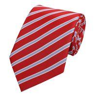 Schlips Krawatte Krawatten Binder 8cm rot weiß lila gestreift Fabio Farini