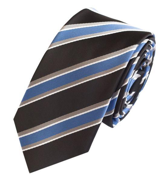 Schlips Krawatte Krawatten Binder 6cm blau schwarz grau gestreift Fabio Farini