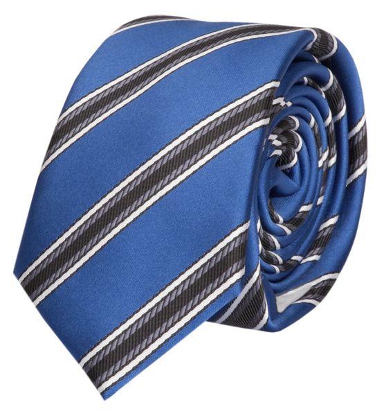 Schlips Krawatte Krawatten Binder 6cm blau grau weiß gestreift Fabio Farini