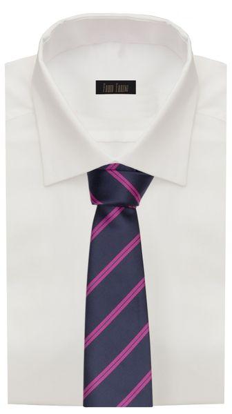 Schlips, Krawatte, Krawatten, Binder, 8cm dunkelblau pink gestreift Fabio Farini