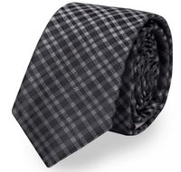 Schlips, Krawatte, Krawatten, Binder, 8cm schwarz grau kariert Fabio Farini