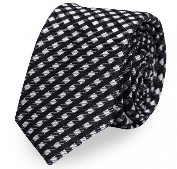 Schlips, Krawatte, Krawatten, Binder, 8cm schwarz grau kariert, Fabio Farini