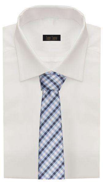 Schlips, Krawatte, Krawatten, Binder, 8cm blau schwarz grau kariert Fabio Farini