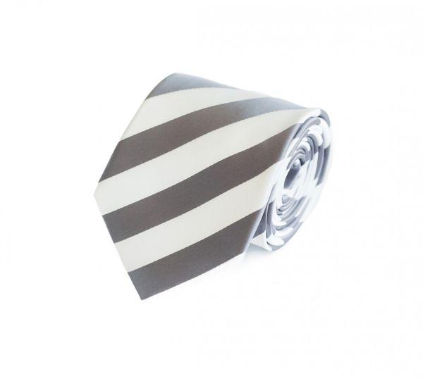 Schlips Krawatte Krawatten Binder 8cm grau weiß gestreift Fabio Farini