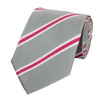 Schlips Krawatte Krawatten Binder 8cm hellgrau rosa weiß gestreift Fabio Farini