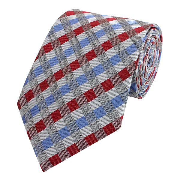 Schlips Krawatte Krawatten Binder 8cm rot blau grau kariert Fabio Farini
