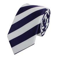 Schlips Krawatte Krawatten Binder Breit 6cm Blau/Weiß gestreiftt Fabio Farini