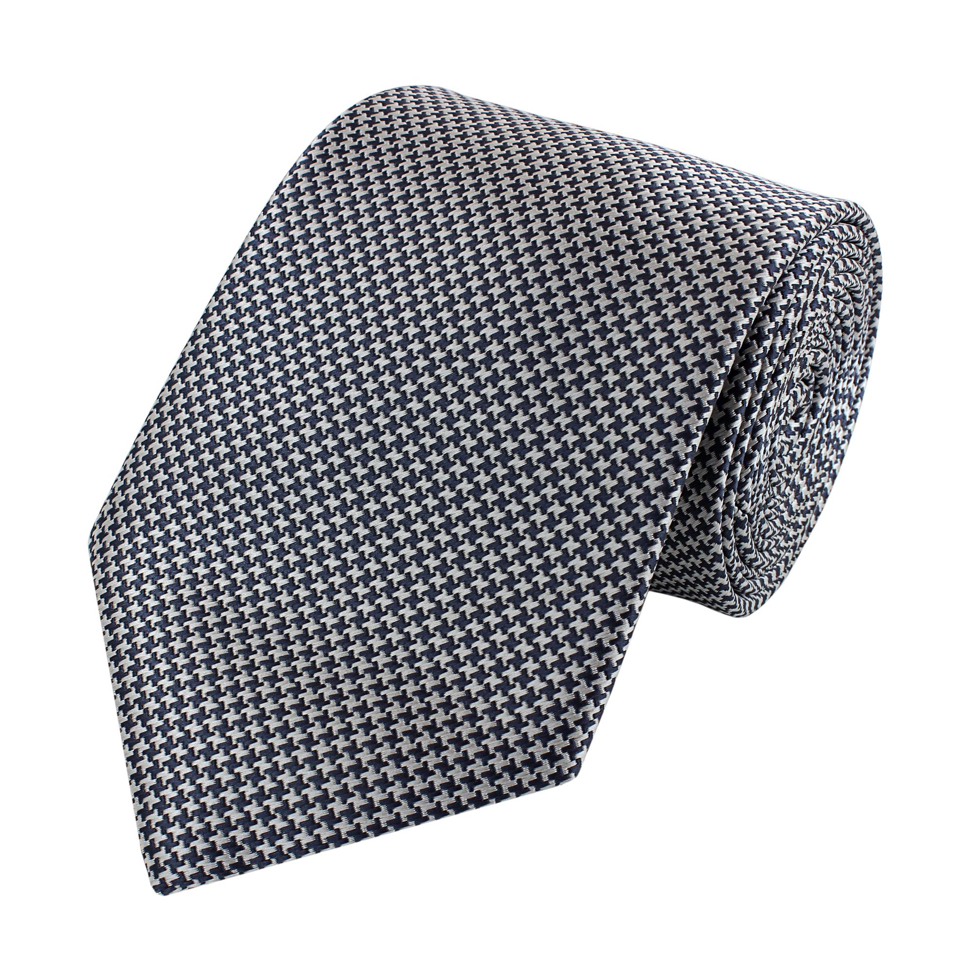 Edle schwarze Designer Krawatte 8cm Fabio Farini gestreift in silbergrau /& weiß