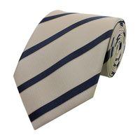 Schlips Krawatte Krawatten Binder Breit 8cm Beige/Blau gestreift Fabio Farini