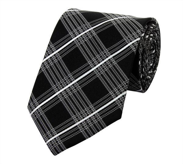 d1d68efe1f Schlips Krawatte Krawatten Binder 8cm schwarz grau weiß kariert Fabio Farini