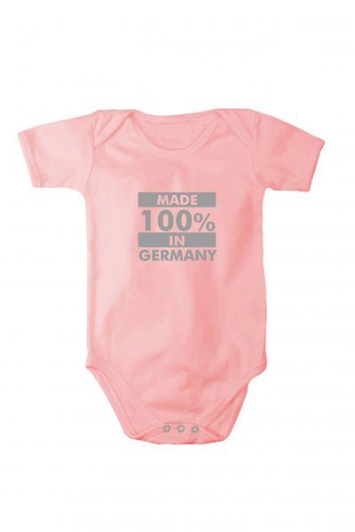 Baby Body mit glänzendem silbernem Druck Made in Germany