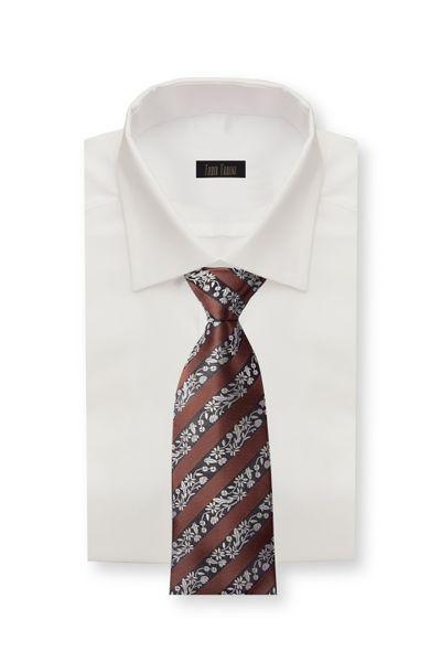 Schlips Krawatte Krawatten Binder 8cm braun gestreift Blumenmuster Fabio Farini