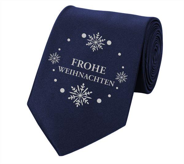 Fabio Farini Bedruckte Krawatte Weihnachtskrawatte  8cm Winter Schneeflocke dunkelblau