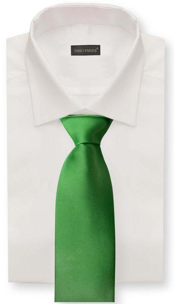 Schlips Krawatte Krawatten Binder 8cm grasgrün grün uni Fabio Farini