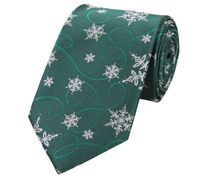 Schlips Krawatte Krawatten Binder 8cm Winter Schneeflocke grün grau Fabio Farini
