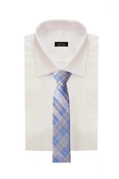 Schlips Krawatte Krawatten Binder 6cm weiß blau grau kariert Fabio Farini