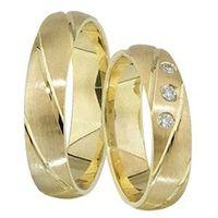 1 Paar Trauringe Eheringe 5 mm Carlos 333 Gold Gelbgold 0,03 ct Diamant