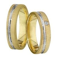 1 Paar Trauringe Eheringe 5 mm Marcus bicolor 333 Gold 0,01 ct Diamant