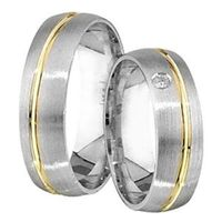 1 Paar Trauringe Eheringe 5 mm Fernando Bicolor 333 Gold 0,01 ct Diamant