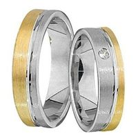 1 Paar Trauringe Eheringe 5 mm Dirk Bicolor 333 Gold 0,01 ct Diamant