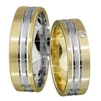 1 Paar Trauringe Eheringe 6 mm Cedric Bicolor 333 Gold 0,02 ct Diamant