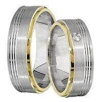 1 Paar Trauringe Eheringe 6 mm Bryan Bicolor 333 Gold 0,02 ct Diamant
