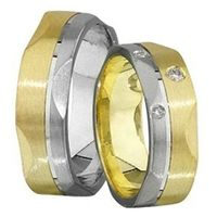 1 Paar Trauringe Eheringe 6 mm Björn Bicolor 333 Gold 0,03 ct Diamant