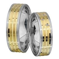 1 Paar Trauringe Eheringe 5,5 mm Daniel Bicolor 333 Gold 0,03 ct Diamant