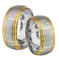 1 Paar Trauringe Eheringe 8 mm Kurt bicolor 333 Gold 0,03 ct Diamant