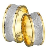 1 Paar Trauringe Eheringe 8 mm Felix bicolor 333 Gold 0,06 ct Diamant