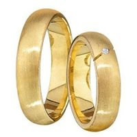 1 Paar Trauringe Eheringe 4 mm Francis 585 Gold Gelbgold mit 0,01 ct Diamant