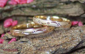 1 Paar Trauringe Eheringe 3 mm Charming 585 Gold Gelbgold mit Gravur & Etui – Bild 1
