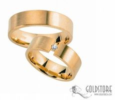 1 Paar Trauringe Eheringe 6 mm G8043 333 Gold Gelbgold 0,03 ct Diamant