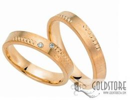 1 Paar Trauringe Eheringe 4 mm 333 Gold Gelbgold 0,02 ct Diamant