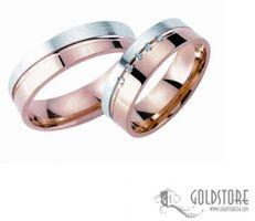 1 Paar Trauringe Eheringe 5 mm 585 Rosegold-Weißgold G8004 Diamant 0,05 ct