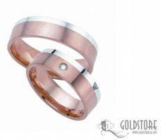 1 Paar Trauringe Eheringe 6 mm 333 Rosegold-Weißgold G8006 Diamant 0,02 ct