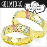 1 Paar Trauringe Eheringe 4,5 mm Katie Multicolor 585 Gold mit Gravur