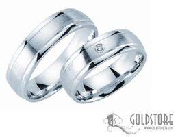 1 Paar Trauringe Eheringe 6 mm 8044 333 Gold Weißgold Diamant 0,02 ct