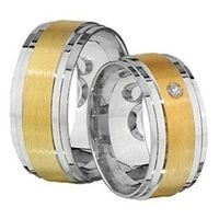 1 Paar Trauringe Eheringe 9 mm Karl bicolor 585 Gold mit 0,03 ct Diamant