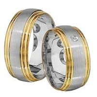 1 Paar Trauringe Eheringe 8 mm Kurt bicolor 585 Gold mit 0,03 ct Diamant