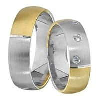 1 Paar Trauringe Eheringe 5,5 mm Dean Bicolor 585 Gold mit 0,03 ct Diamant