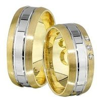 1 Paar Trauringe Eheringe 7 mm Chris bicolor 585 Gold mit 0,03 ct Diamant