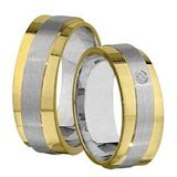 1 Paar Trauringe Eheringe 7 mm Juan bicolor 585 Gold mit 0,02 ct Diamant 001